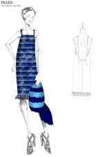 Multi-striped sequin dress with plastic embroidery at the bottom. Inspired by the Prada s/s 2011 collection