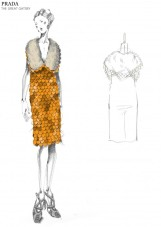 Orange organza dress with plastic fish scale-like sequin embroidery. Inspired by the Prada a/w 2011 collection